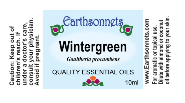 Label of the recalled Earthsonnets Wintergreen Essential Oil