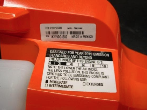 Model and serial numbers are located on a white label on the product