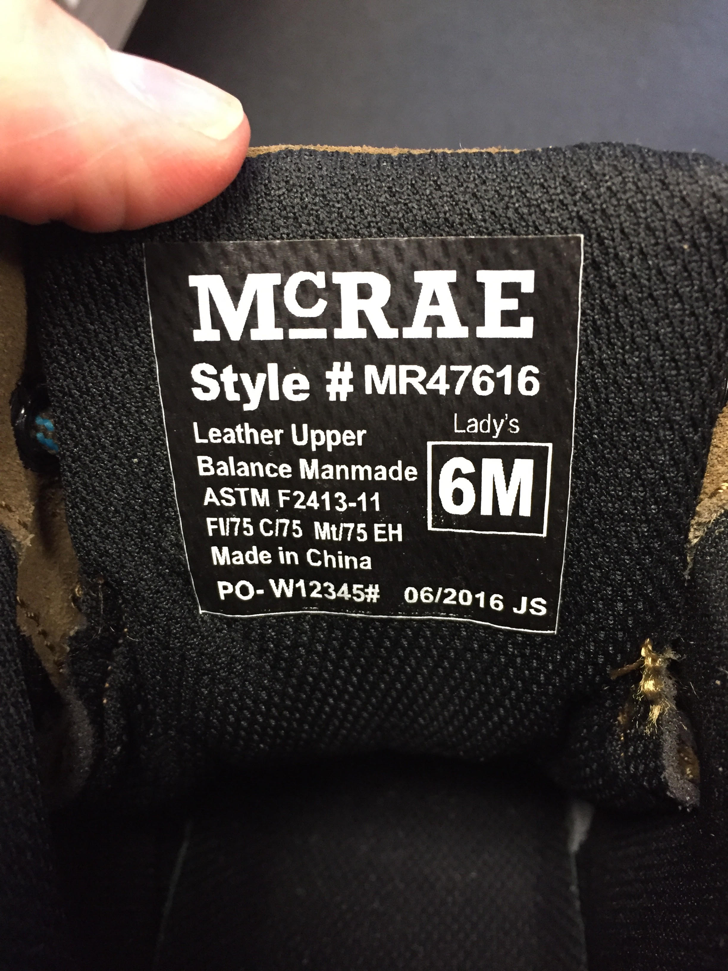 Style label on recalled safety boots and shoes