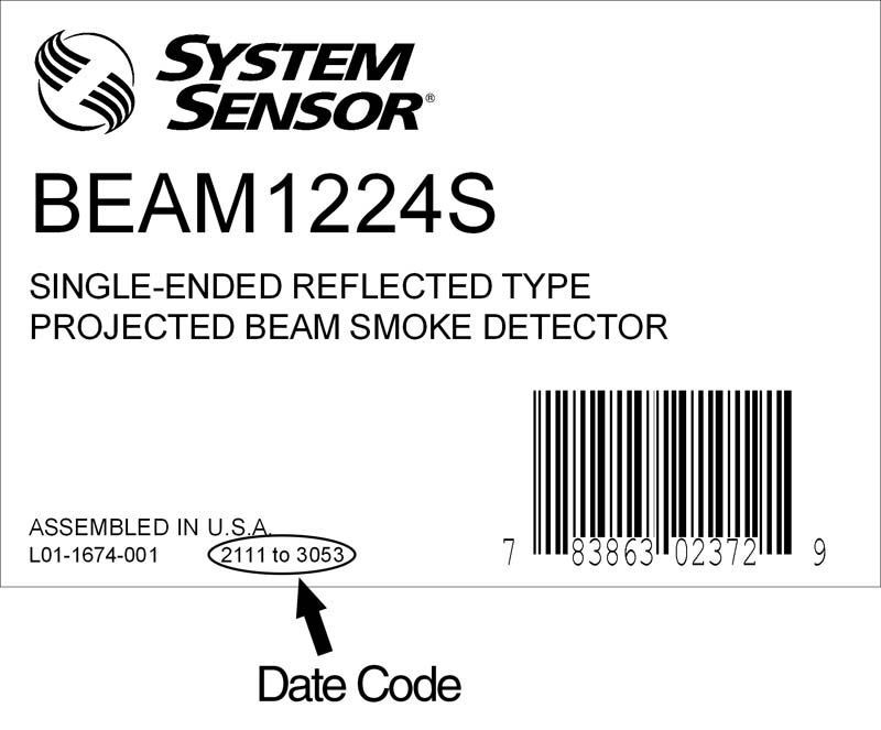 Label on System Sensor smoke detectors