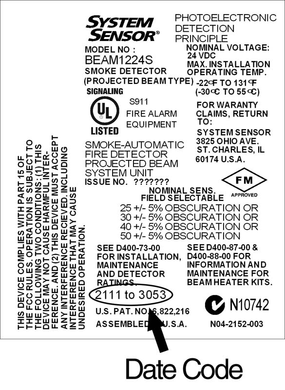 system sensor recalls reflected beam smoke detectors