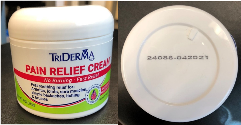 Recalled TriDerma Pain Relief Cream with Lidocaine in 4 ounce jar