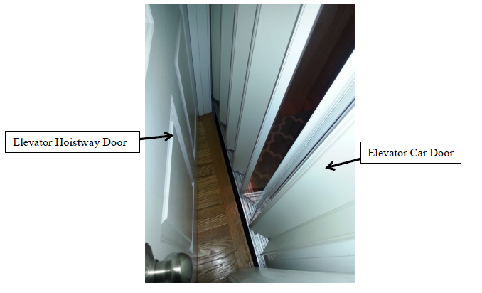 Figure 1. Typical Residential Elevator with Swinging Hoistway Door and Accordion Car Door