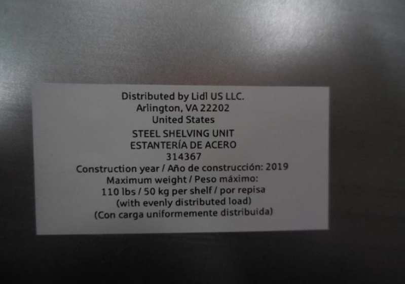 White Sticker with Article Number on Recalled Lidl Powerfix Shelving Unit