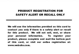 Product Registration Card
