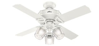 "Hunter fan 52262 Brunswick 44"" with 3 lights in white housing"