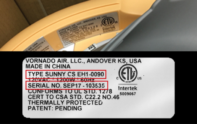 Label with model number and serial number