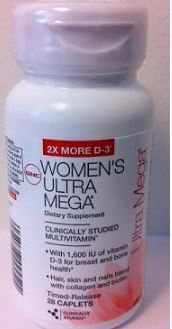 image of GNC Women's Ultra Mega®, Ultra Mega Active, Ultra Mega Energy and Metabolism, and GNC Prenatal Formula with Iron multivitamins