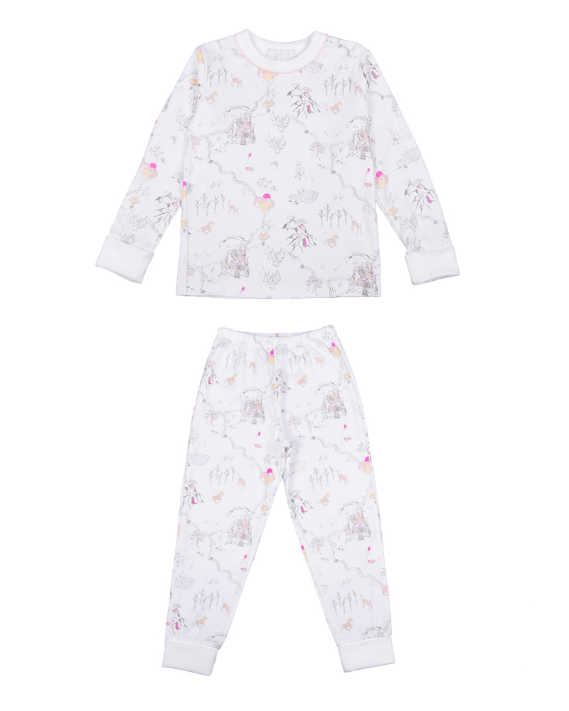Children's two-piece pajama set in princess land pink print