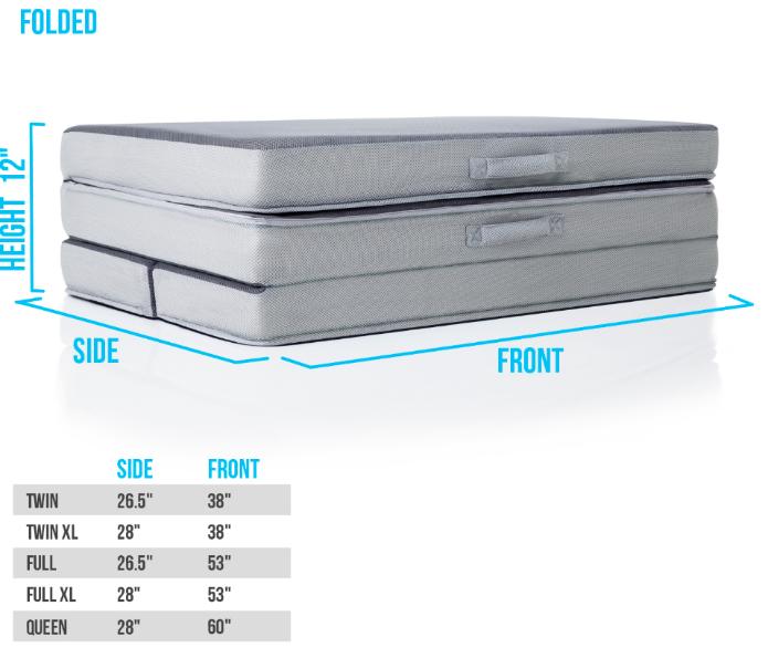 Recalled LUCID Folding Mattress-Sofa folded for storage.