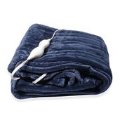 Blue Electric Heated Micro Plush Flannel Sherpa Throw Blanket (50x60 in)