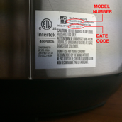 Model number and date code location