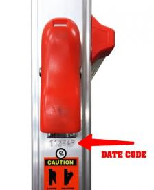 Location of date code on recalled ladders