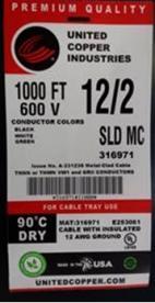 Metal Clad (MC) aluminum armored cable label