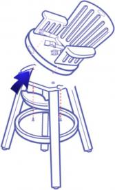 Diagram of recalled high chair showing how the seat can get detached from the base