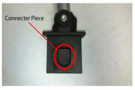 Location of connector piece on recalled booster seat