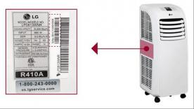 LG Portable Air Conditioner model and serial number