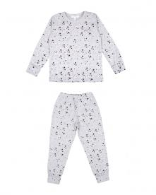 Children's two-piece pajama set in grey and black stars print