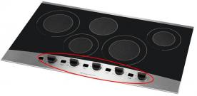 Sample smoothtop cooktop with rotary knobs and digital displays
