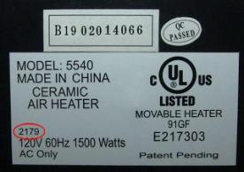 The Date Code is circled in red. If you have a model 5540 or\n8540, turn the heater over and check the date code located\nas shown on the label located at the bottom of the unit.