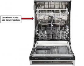 Location of model and serial number in dishwasher