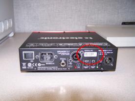 Amplifier back side, serial number location