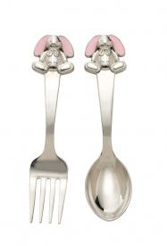 Reed and Barton Gingham Bunny fork and spoon set