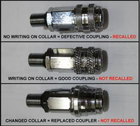 Only the top coupling without any words stamped on the collar are recalled.