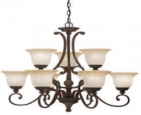 PORTFOLIO nine-light Kichler Aztec chandelier, model 34330