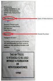 Federal tag on recalled SlumberWorld mattresses