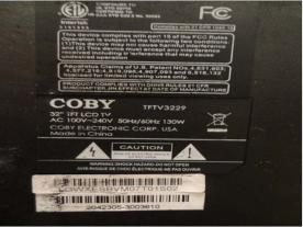 Coby television label serial and model numbers