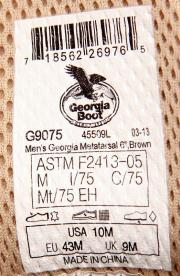 Label inside the shoe's tongue showing product number and date code.