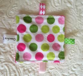 Green and Pink Polka-dot Sensory Grab Garbs Blanket
