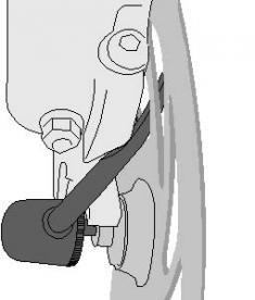 Figura 2: Palanca de liberación rápida atrapada en el disco frontal
