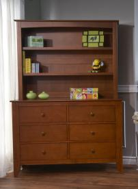Pali Design Bookcase used as a hutch on a double drawer dresser
