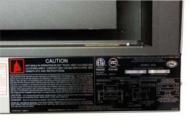 Label on HomComfort 2400 24K BTU Pellet Heater/Stove