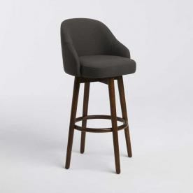 Saddle Bar Stool with Iron Basketweave Upholstery