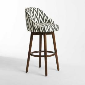 Saddle Bar Stool with Slate Chevron Upholstery