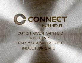 Connect by H-E-B is stamped on the underside of the cookware