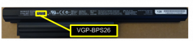 The model number location on the battery pack