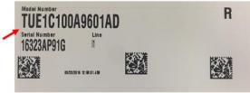 Label with model and serial number