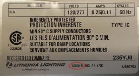 The date code on the fixture's housing's label is in a MM/DD/YY format.