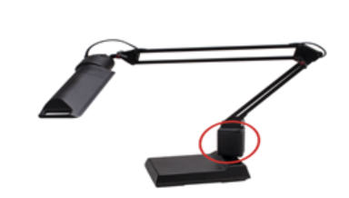 Recalled LEDU Black Fluorescent Computer Task Lamp (Red circle shows where hazard exists)