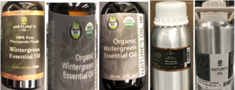 Recalled Nature's Oil Wintergreen Essential Oils 10 mL, 15 mL, 60 mL, 473 mL and 2.25 L (5 lb)