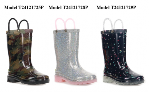 "Recalled Western Chief ""Abstract Camo"", ""Alia Silver"", and ""Sweetheart Navy"" Light-Up Rain Boots"