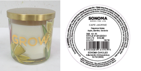 Kohl's Recalls Three Wick SONOMA Goods For Life Branded Candles