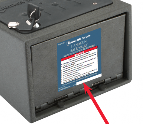 Label location on Bunker Hill handgun safe