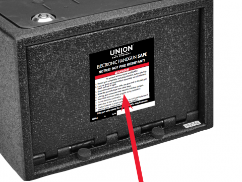 Label location on Union handgun safe