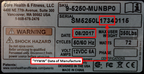 SKU and Serial Card Located on the rear frame