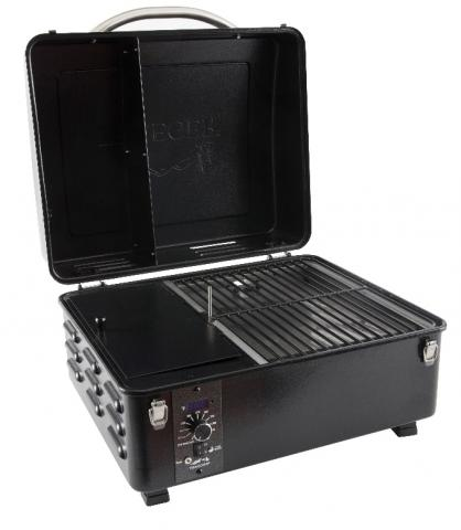 The recalled Traeger Scout protable grill with the lid open.